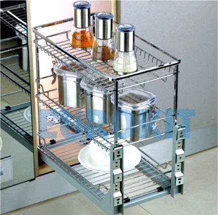 Giá xoong nồi bát đĩa nan vuông - Inox 304, ray giảm chấn gắn liền - Mã SP : JA 300B