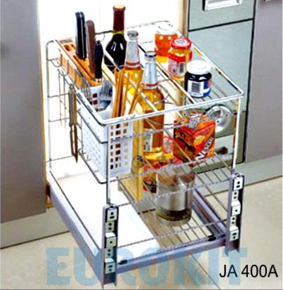 Giá xoong nồi bát đĩa nan vuông - Inox 304, ray giảm chấn gắn liền - Mã SP : JA 400A