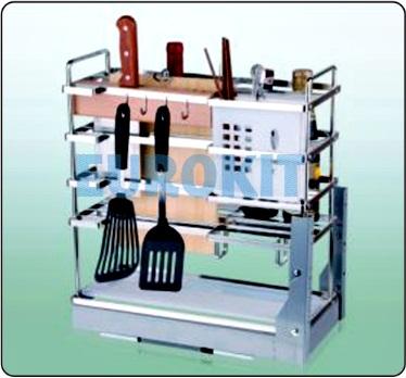 Giá cắm dao nan dẹt, đựng chai lọ, gia vị - inox 304, ray giảm chấn gắn liền - Mã SP : SJ 300/350