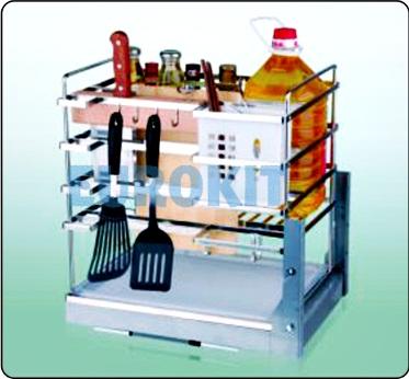 Giá cắm dao nan dẹt, đựng chai lọ, gia vị - inox 304, ray giảm chấn gắn liền - Mã SP : SJ 400/450
