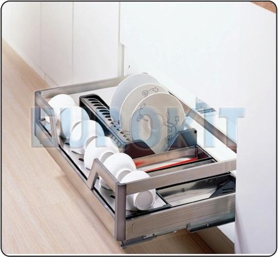 Giá để xoong nồi hộp inox 304 ray giảm chấn gắn liền - MSP : DA 600/700/800/900