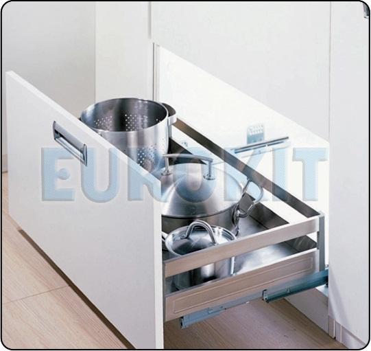 Giá để xoong nồi hộp inox 304 ray giảm chấn gắn liền - MSP : DF 600/700/800/900
