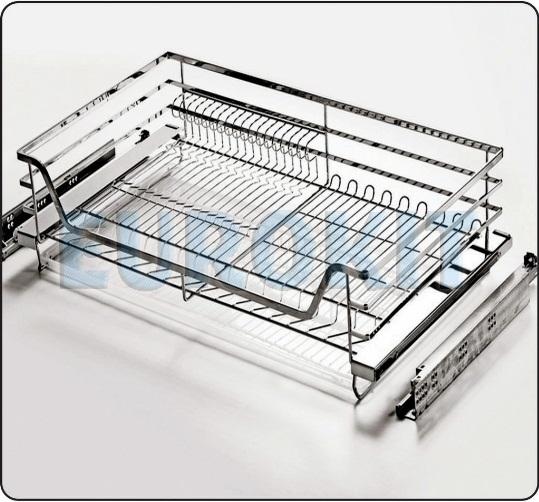 Giá để xoong nồi Inox nan vuông ray giảm chấn gắn liền - Mã SP : GB 600/700/800/900
