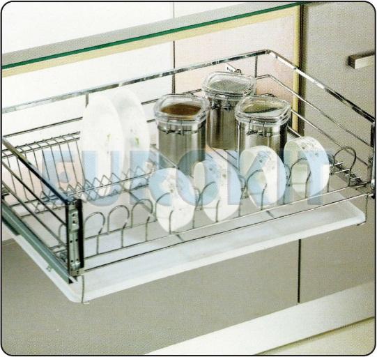 Giá để xoong nồi Inox nan vuông ray giảm chấn gắn liền - Mã SP : GE 600/700/800/900
