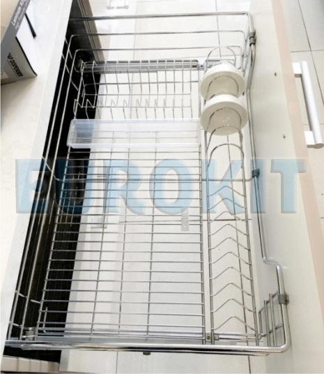 Giá để bát đĩa tủ bếp dưới nan tròn Inox 304 - Mã SP: BI - 600/700/800/900