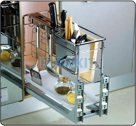 Giá cắm dao, đựng chai lọ, gia vị nan vuông Inox 304 có ray giảm chấn gắn liền
