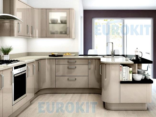 Mẫu tủ bếp Acrylic bo góc cong