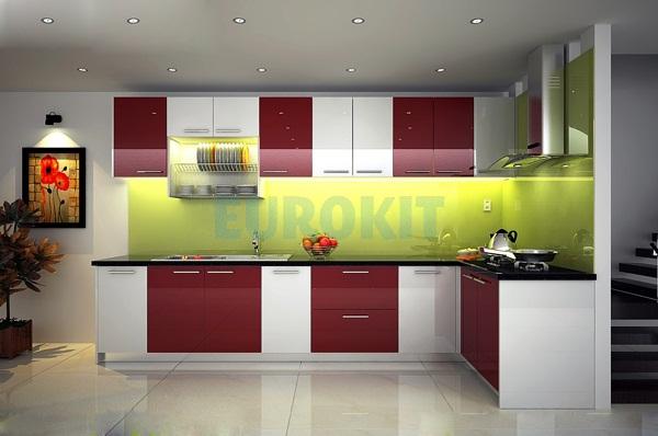 Mẫu tủ bếp đẹp cao cấp Arcylic sang trọng hiện đại